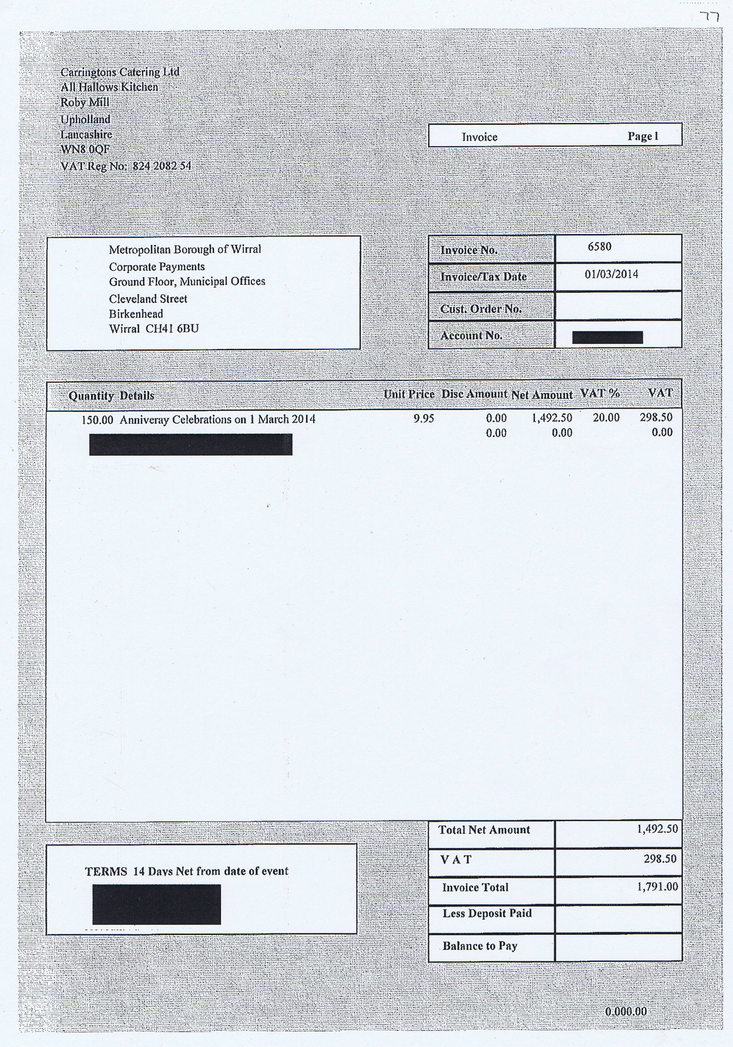 Wirral Council invoice 77 Carringtons Catering Ltd £1791
