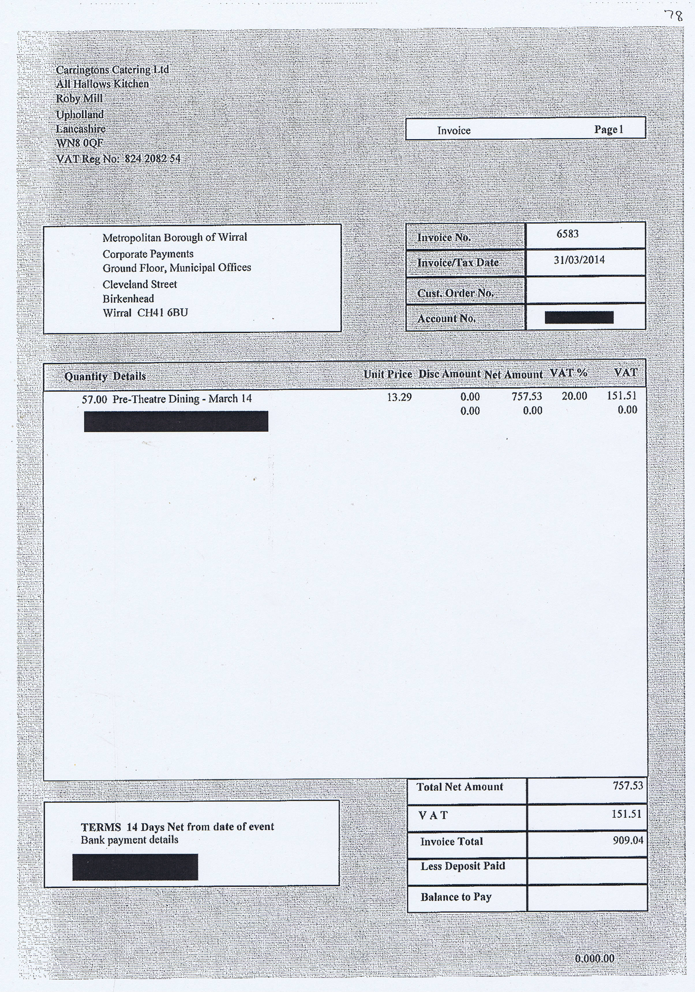 Wirral Council invoice 78 Carringtons Catering Ltd £909.04