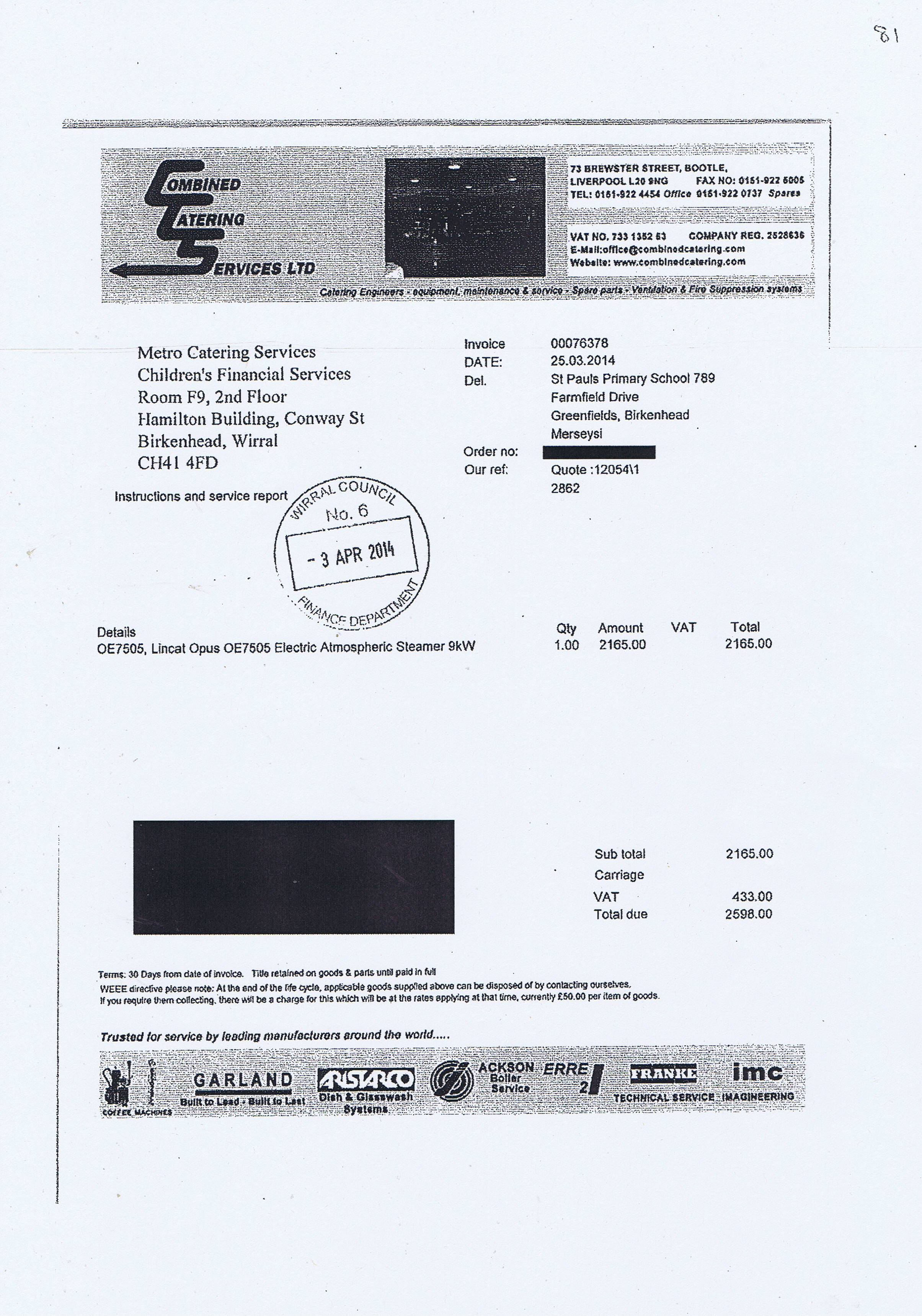 Wirral Council invoice 81 Combined Catering Services Ltd £2598