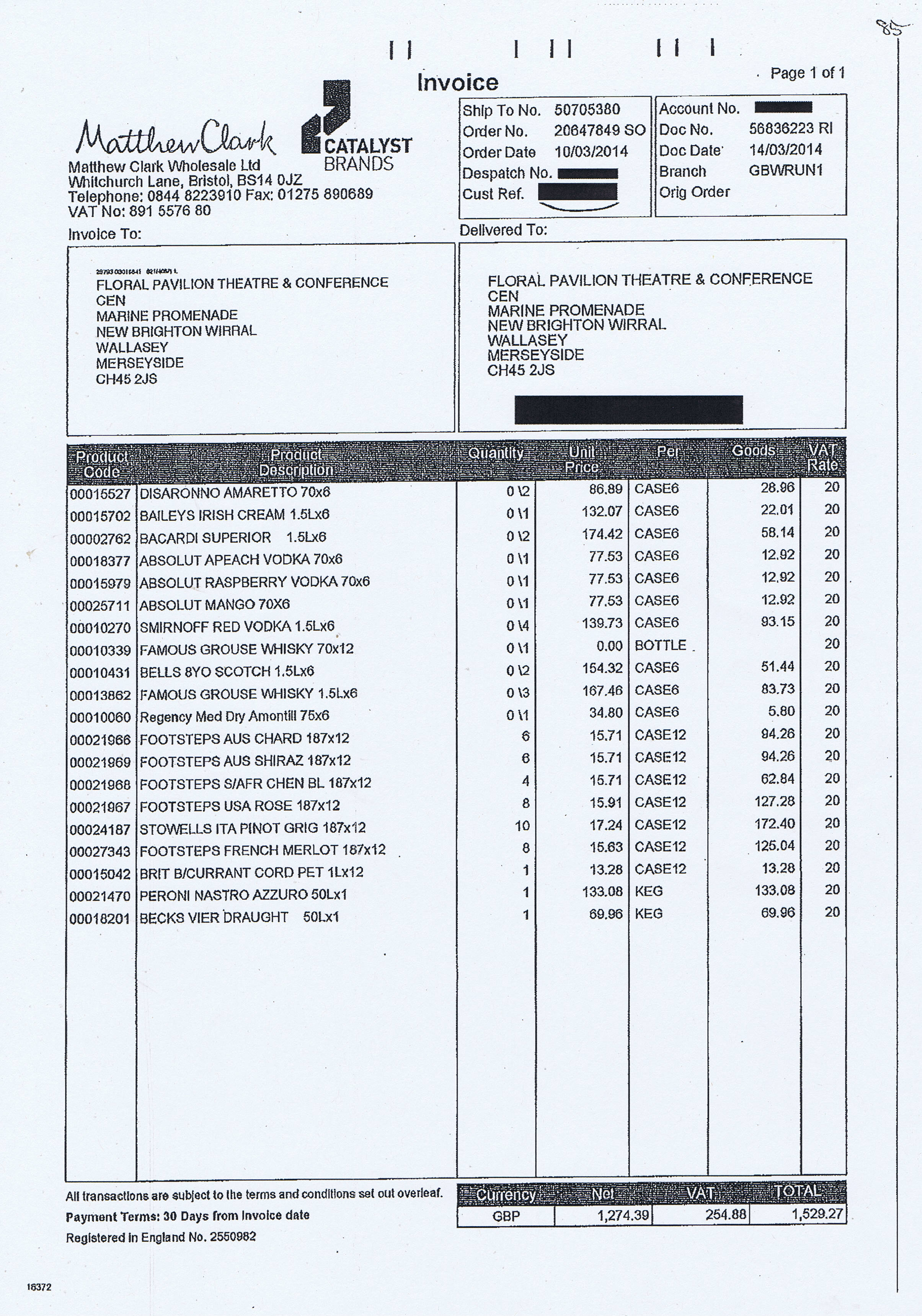 Wirral Council invoice 85 Matthew Clark Wholesale Ltd £1529.27