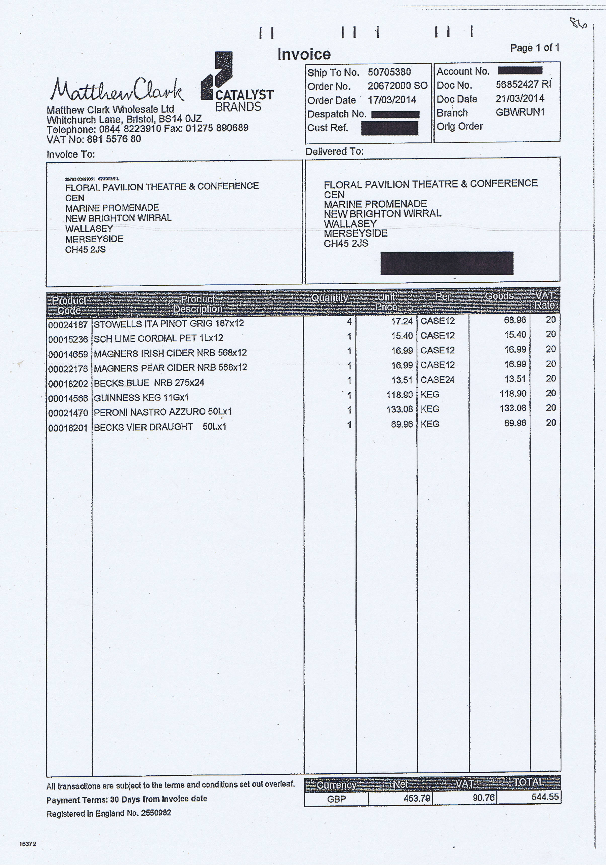 Wirral Council invoice 86 Matthew Clark Wholesale Ltd £544.55