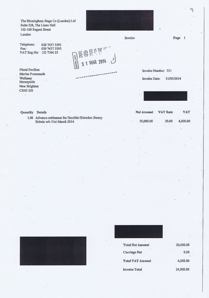 Wirral Council invoice 9 Horrible Histories Barmy Britain £24000