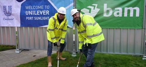 Construction starts on Unilever's North West Innovation Centre L: Cameron Jones (Port Sunlight site leader) Unilever R: Dave Penrith (Vice President Technology & Engineering) Unilever