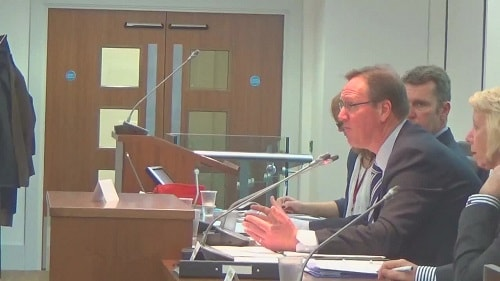 Councillor Phil Davies chairing a meeting of the Liverpool City Region Combined Authority earlier this year