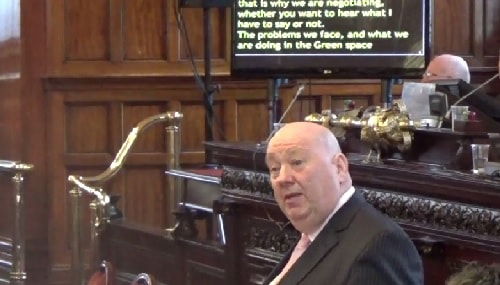 Mayor Joe Anderson speaking at a meeting of Liverpool City Council (8th April 2015)