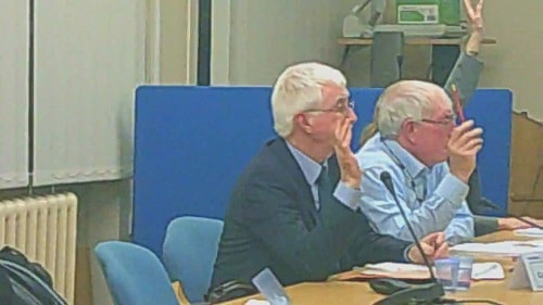 Cabinet 17th December 2014 vote on Lyndale School closure L to R Cllr Tony Smith (Cabinet Member for Education), Cllr George Davies, Cllr Ann McLachlan