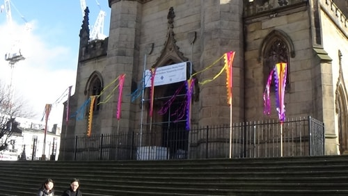 Chinese New Year Liverpool 2016 Church of St Luke (Liverpool) known as the Bombed Out Church Junction of Berry Street and Leece Street photo 2  7th February 2016