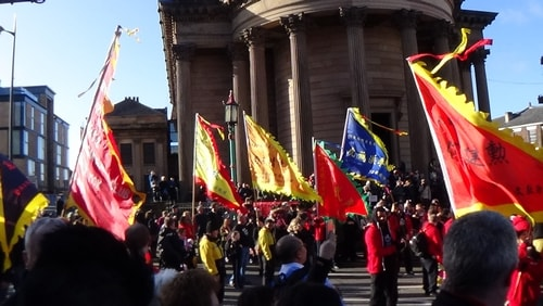 Chinese New Year Liverpool 2016 flags in Chinese dragon parade 7th February 2016 photo 5