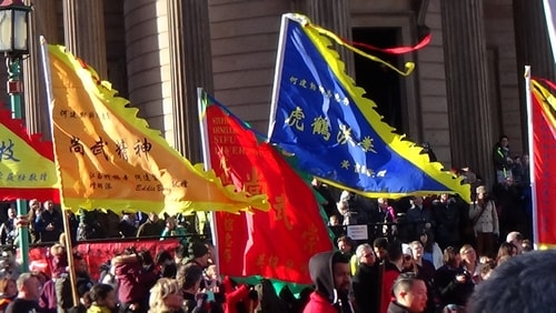 Chinese New Year Liverpool 2016 flags in Chinese dragon parade 7th February 2016 photo 7