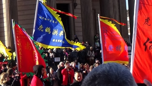 Chinese New Year Liverpool 2016 flags in Chinese dragon parade 7th February 2016 photo 8
