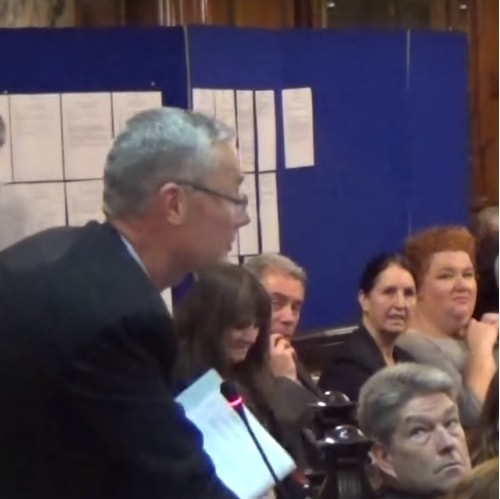 Cllr Paul Brant (left) speaking at a recent public meeting of Liverpool City Council (11th November 2015)