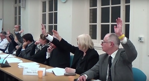 Labour councillors (except Cllr Christina Muspratt who abstained) voting against an opposition motion on Girtrell Court at the Coordinating Committee meeting on the 16th February 2016