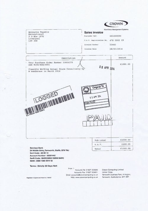 Merseytravel 2014 2015 audit month 1 invoice CROWN COMPUTING LTD £1000 page 1 of 1