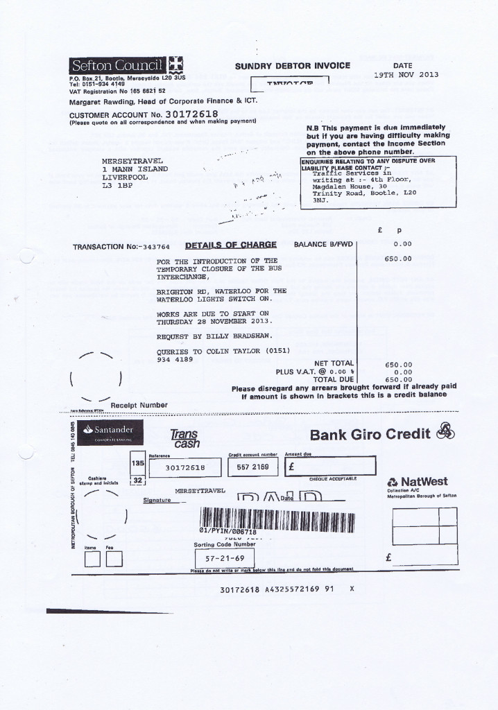 Merseytravel 2014 2015 audit month 1 invoice SEFTON COUNCIL £650 page 1 of 2
