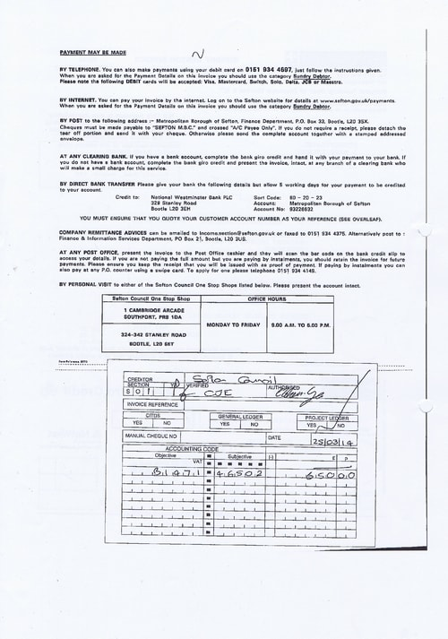 Merseytravel 2014 2015 audit month 1 invoice SEFTON COUNCIL £650 page 2 of 2