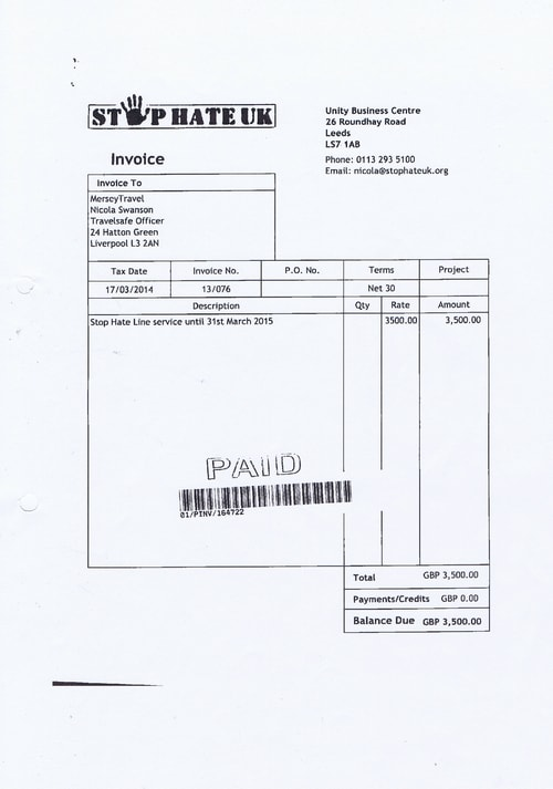 Merseytravel 2014 2015 audit month 1 invoice STOP HATE UK £3500 page 1 of 1