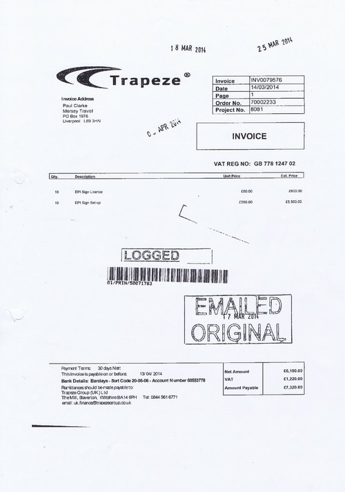 Merseytravel 2014 2015 audit month 1 invoice TRAPEZE GROUP (UK) LTD £6100 page 1 of 1 thumbnail