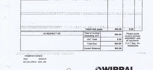 Merseytravel 2014 2015 audit month 1 invoice WIRRAL COUNCIL £903 page 1 of 2 thumbnail
