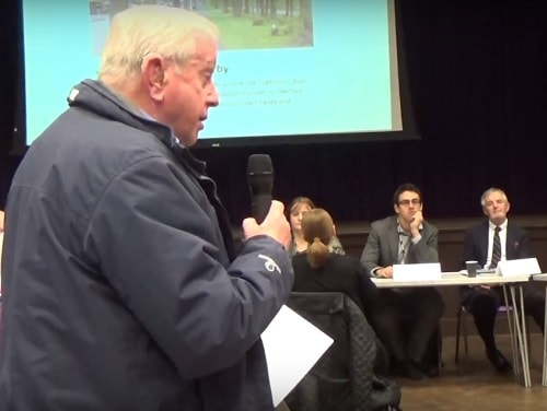 Peter Cowan (left) speaking about Girtrell Court at the Wirral West Constituency Committee meeting 11th February 2016