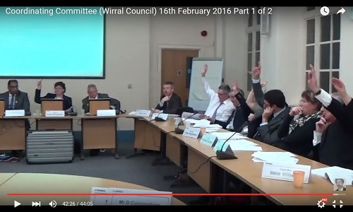 Cllr Moira McLaughlin voting against Girtrell Court motion at Coordinating Committee 16th February 2016 thumbnail