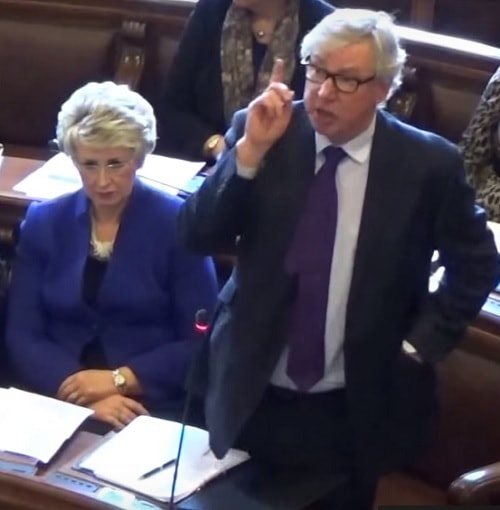 Cllr Jeff Green (Conservative Leader) on the right speaking at the Extraordinary Meeting of Wirral Council to discuss Girtrell Court 4th April 2016