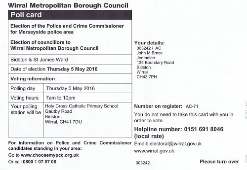 Polling card Bidston and St James ward 2016 front