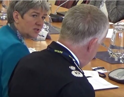 Jane Kennedy (left), the current Police and Crime Commissioner for Merseyside and Labour Party candidate in the 2016 elections for a Police and Crime Commissioner for Merseyside at a public meeting of the Police and Fire Collaboration Committee (2015)