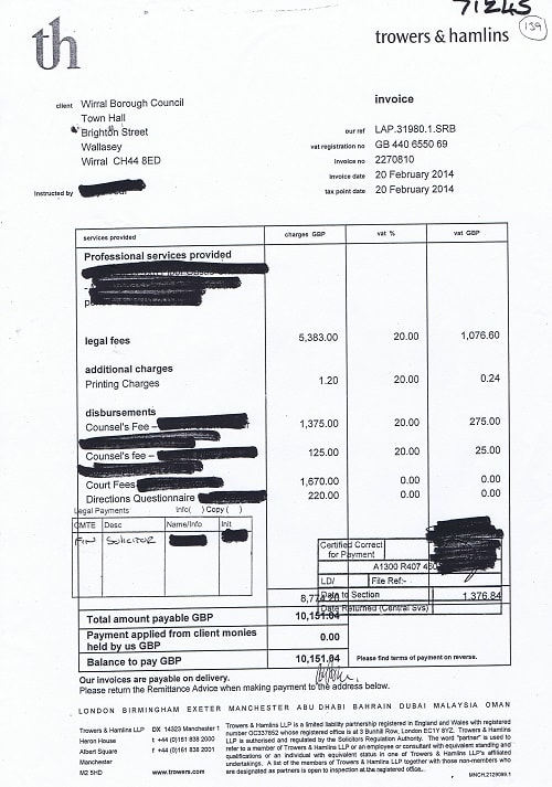 An example of an invoice supplied by Wirral Council during a previous audit