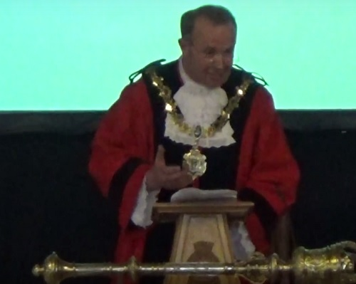 Mayor Cllr Pat Hackett at the Annual Council meeting of Wirral Council 16th May 2016