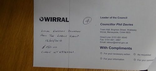 Bebington May 2016 Wirral Council councillor candidate Christina Muspratt Return of candidate spending Page 18 of 18