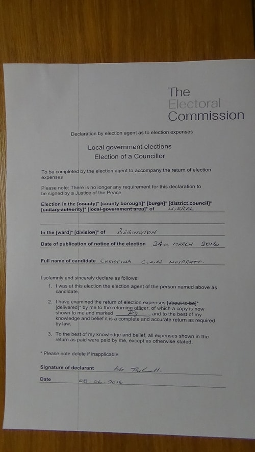 Bebington May 2016 Wirral Council councillor candidate Christina Muspratt agent declaration Page 1 of 1