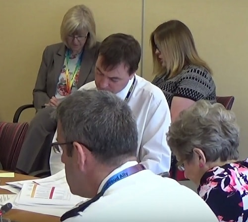 Deputy Chief Fire Officer Phil Garrigan (bottom left) tells Merseyside Fire and Rescue Authority's Audit Sub-Committee 9th June 2016 about the risk of data being compromised