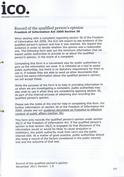 EA 2016 0033 First Tier Tribunal (Information Rights) GRC John Brace and Information Commissioner and Wirral Council page 225 Record of the qualified person's opinion