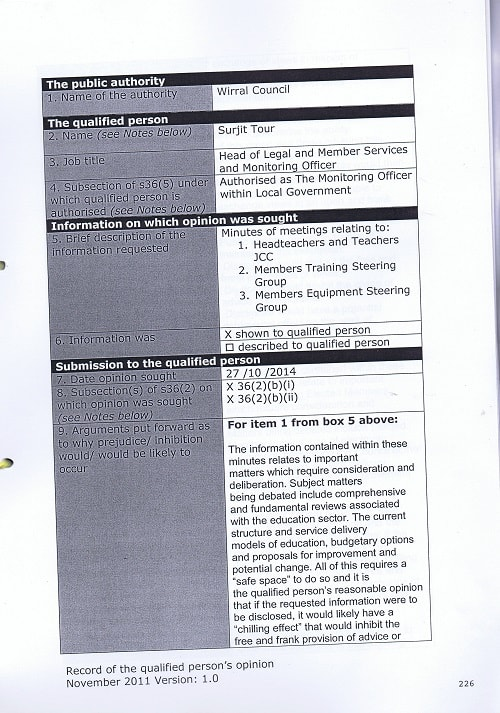 EA 2016 0033 First Tier Tribunal (Information Rights) GRC John Brace and Information Commissioner and Wirral Council page 226 Record of the qualified person's opinion