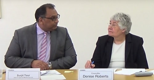 Surjit Tour (Monitoring Officer, left) speaking at the Standards and Constitutional Oversight Committee meeting of Wirral Council on the 2nd June 2016 Right Cllr Denise Roberts (Chair)