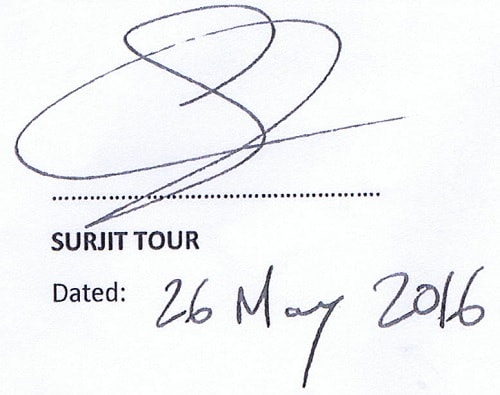 Surjit Tour's signature witness statement page 11 Dated: 26 May 2016