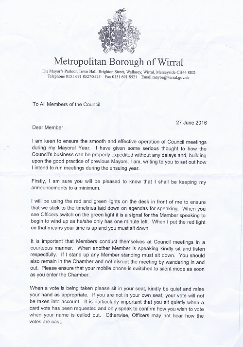 letter from Mayor of Wirral Cllr Pat Hackett to councillors on Wirral Council 27th June 2016 Page 1 of 2