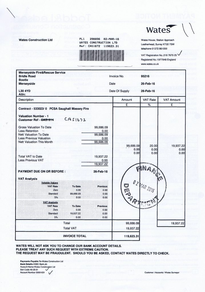 0 Wates Construction Ltd invoice 26th February 2016 Saughall Massie Fire Station £119623.31 Page 1 of 2