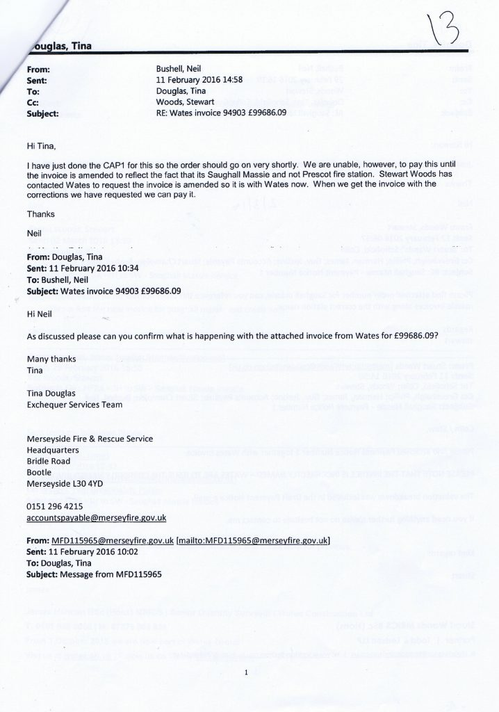 2 email from Neil Bushell to Tina Woods and Stewart Woods re Wates invoice 94903 £99686.09
