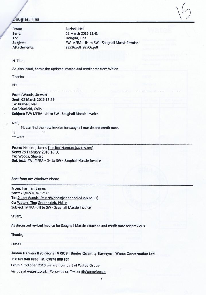 4 emails re Saughall Massie Invoice
