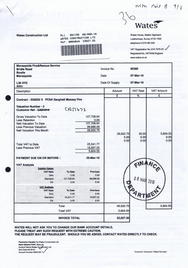 5 Wates Construction Ltd invoice 26th February 2016 Saughall Massie Fire Station £33627.30 Page 1 of 2
