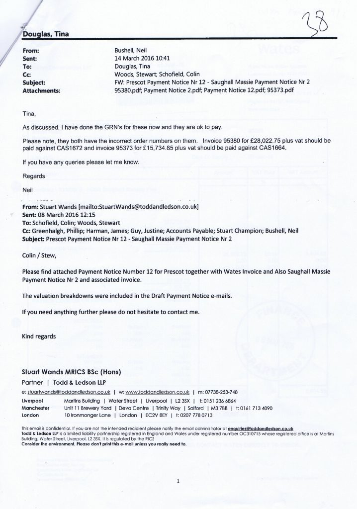 7 email re Prescot Payment Notice Nr 12 - Saughall Massie Payment Notice Nr 2