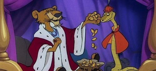 King John and the snake from Disney's Robin Hood counting gold coins