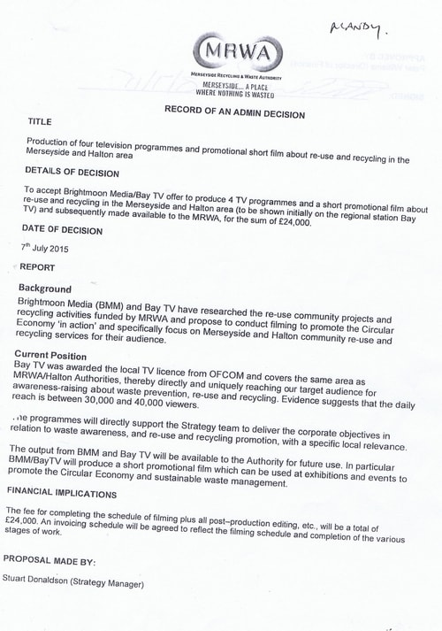Merseyside Waste Disposal Authority Contract S 5011 C Brightmoon Media Bay TV Page 1 of 7