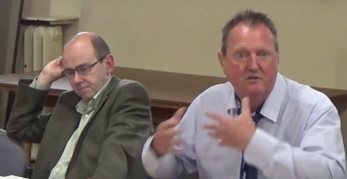 Councillor Steve Foulkes (Labour) (right) speaking at a recent meeting of the Birkenhead Constituency Committee (28th July 2016) while Councillor Pat Cleary (Green) (left) listens