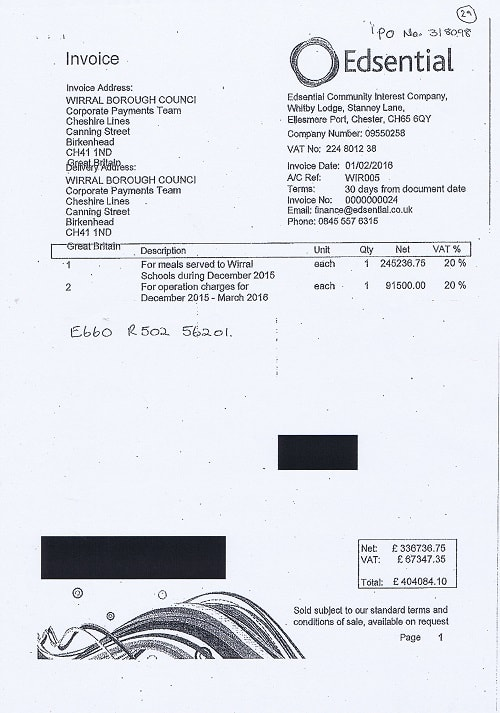 Edsential invoice to Wirral Borough Council 2nd January 2016 Wirral Schools meals and operation charges £404084.10