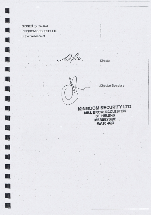 Wirral Council litter enforcement contract Kingdom Security Ltd cover agreement page 3