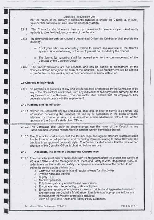 Wirral Council litter enforcement contract Kingdom Security Ltd contract page 13 of 47
