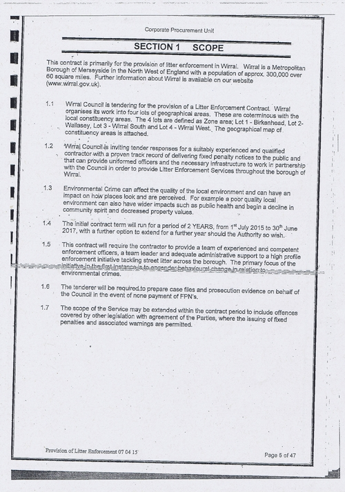 Wirral Council litter enforcement contract Kingdom Security Ltd contract page 5 of 47