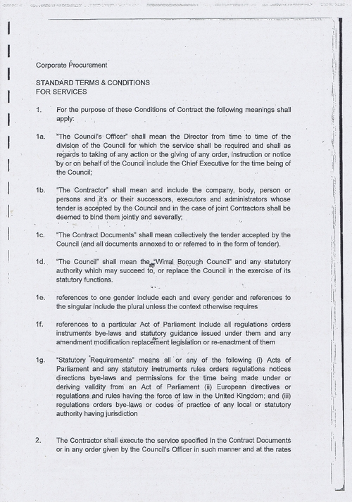 Wirral Council litter enforcement contract Kingdom Security Ltd contract terms and conditions page 1 of 13
